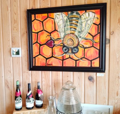 Bee Happy - brightly colored acrylic